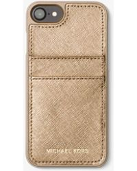 Michael Kors - Metallic Saffiano Leather Phone Case For Iphone 7 - Lyst