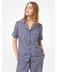 Michael Kors - Printed Silk Pajama Shirt - Lyst