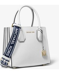 303e455df194 Michael Kors - Mercer Medium Leather Logo Tape Accordion Crossbody Bag -  Lyst