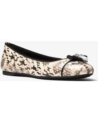Michael Kors - Alice Snake-embossed Leather Ballet Flat - Lyst