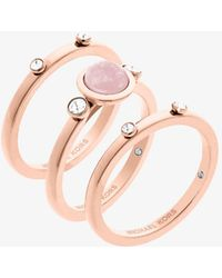 Michael Kors - Rose Gold-tone Genuine Rose Quartz Ring - Lyst
