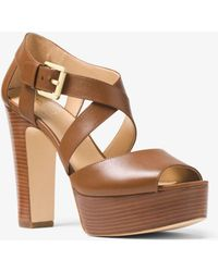 Michael Kors - Jodi Leather Platform Sandal - Lyst