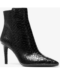 91b7e4c6350 Lyst - MICHAEL Michael Kors Mira Croc Embossed Leather Flat Boot in ...