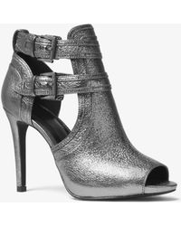 Michael Kors - Blaze Metallic Leather Open-toe Bootie - Lyst