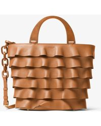 Michael Kors - Stanwyck Large Ruffled French Calf Tote - Lyst