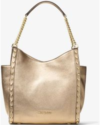 Michael Kors - Newbury Medium Metallic Pebbled Leather Tote - Lyst