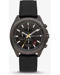Michael Kors - Bryson Black-tone Silicone Watch - Lyst