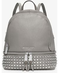 a0d4bbde8838 Michael Kors - Rhea Medium Studded Pebbled Leather Backpack - Lyst
