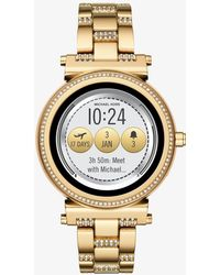 Michael Kors - Sofie Pave Gold-tone Smartwatch - Lyst