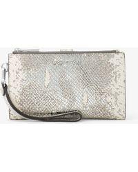 Michael Kors - Adele Metallic Embossed Leather Smartphone Wristlet - Lyst