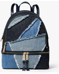 6308f1c6bd79cf MICHAEL Michael Kors - Rhea Medium Frayed Denim Backpack - Lyst
