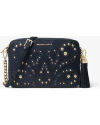 08263847f2a Michael Kors Ginny Studded Md Messenger Crossbody Bag Oyster - Lyst