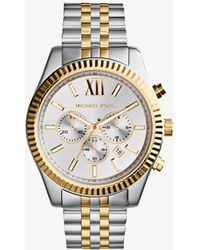 Michael Kors - Lexington Silver And Gold-tone Watch - Lyst