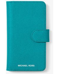 Michael Kors - Saffiano Leather Folio Case For Iphone X - Lyst