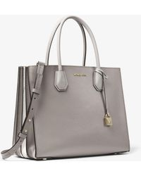 4250af43752b Michael Kors Michael Mercer Accordion Pebble Leather Tote in Gray - Lyst