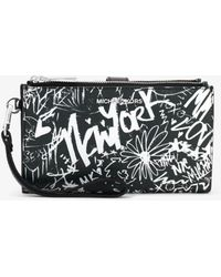 Michael Kors - Adele Graffiti Leather Smartphone Wallet - Lyst