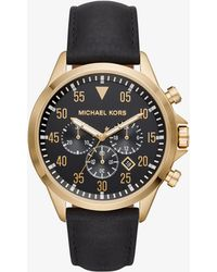 Michael Kors - Reloj Gage en tono dorado de piel - Lyst