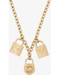 Michael Kors - Gold-tone Padlock Charm Necklace - Lyst