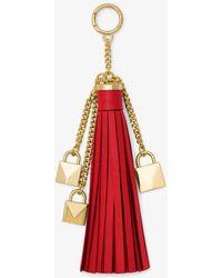 Michael Kors - Mercer Leather Tassel And Lock Key Chain - Lyst