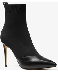 Michael Kors - Vicky Logo Tape Knit Ankle Boot - Lyst