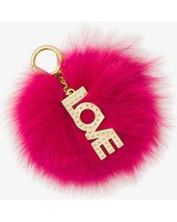Michael Kors - Fox Fur Key Chain With Love Charm - Lyst