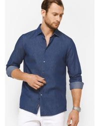 Michael Kors - Slim-fit Chambray Cotton Shirt - Lyst