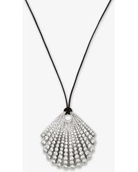Michael Kors - Silver-tone Pave Seashell Necklace - Lyst