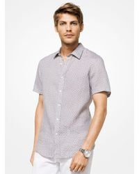 Michael Kors - Tailored/classic-fit Geometric Linen Shirt - Lyst