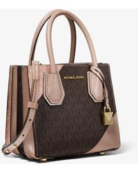 f931be160867 Michael Kors - Mercer Two-tone Logo And Leather Accordion Crossbody Bag -  Lyst