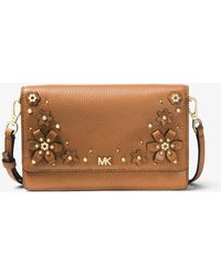 Michael Kors - Floral Embellished Pebbled Leather Convertible Crossbody - Lyst