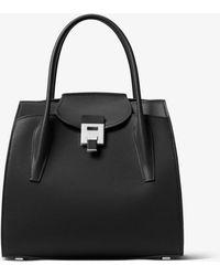 e72984c71ecd2 Lyst - Michael Kors Large Bancroft Leather Tote in Black