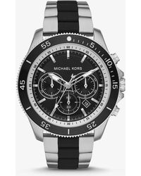 Michael Kors - Oversized Theroux Silver-tone And Silicone Watch - Lyst