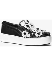 Michael Kors - Trent Floral Sequined Slip-on Trainer - Lyst