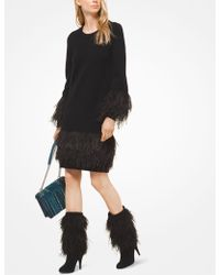 f76b8553ada3b Michael Kors - Feather-embroidered Wool-blend Dress - Lyst