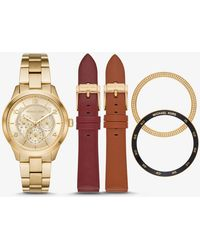 Michael Kors - Runway Gold-tone And Leather Interchangeable Watch Set - Lyst