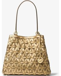 Michael Kors - Brooklyn Large Metallic Leather And Canvas Tote - Lyst