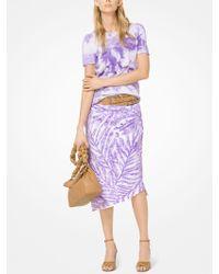 Michael Kors - Palm Sequin Linen-crepe Draped Skirt - Lyst