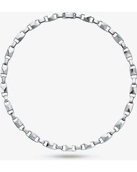 Michael Kors - Mercer Collection Sterling Silver Padlock Link Necklace - Lyst