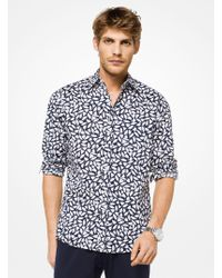 Michael Kors - Slim-fit Botanical Stretch-cotton Shirt - Lyst