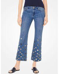Michael Kors - Embellished Cropped Flared Jeans - Lyst