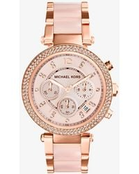 Michael Kors - Parker Rose Gold-tone Blush Acetate Watch - Lyst