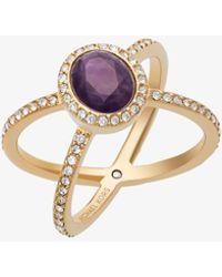 Michael Kors - Gold-tone Amethyst X Ring - Lyst