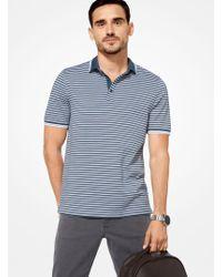 Michael Kors - Greenwich Striped Cotton Polo Shirt - Lyst