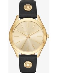 Michael Kors - Slim Runway Gold-tone And Leather Watch - Lyst