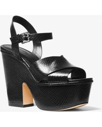b6a1564f09 MICHAEL Michael Kors - Divia Snake-embossed Leather Platform Sandal - Lyst