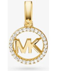 Michael Kors - Precious Metal-plated Sterling Silver Pave Logo Charm - Lyst