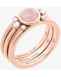 Michael Kors | Rose Gold-tone Genuine Rose Quartz Ring | Lyst
