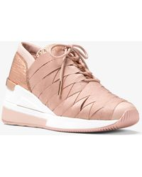 c5568a8aa70c Lyst - MICHAEL Michael Kors Stanton Metallic Leather Trainer in ...