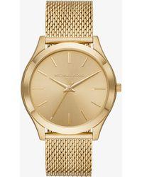 54003f88bf6b Michael Kors - Slim Runway Mesh Gold-tone Watch - Lyst