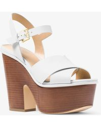 Michael Kors - Divia Leather Platform Sandal - Lyst